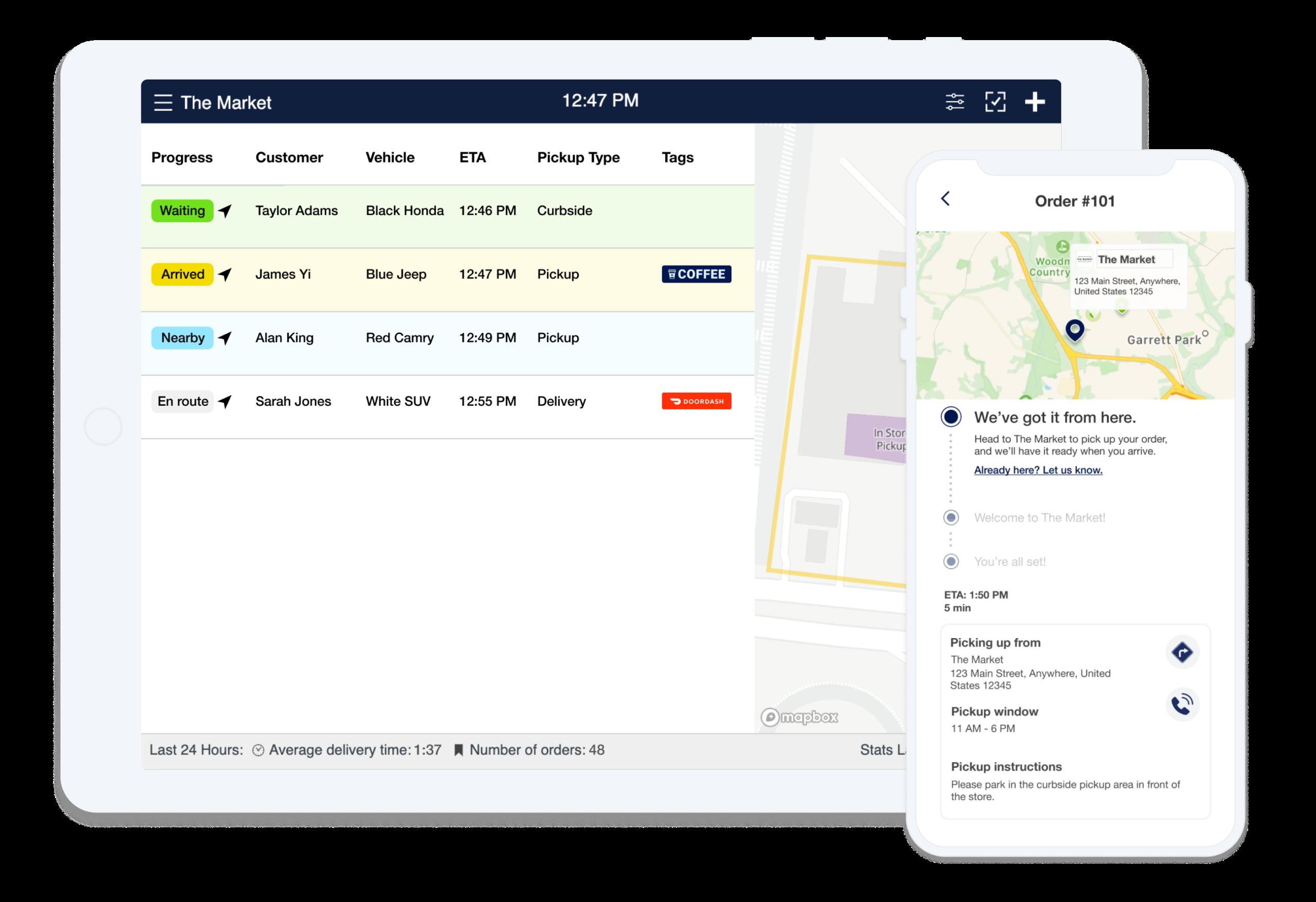 flybuy staff dashboard and customer app