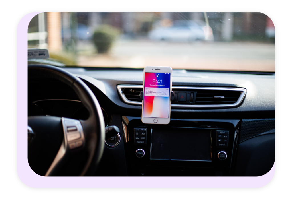 phone receiving notification in car
