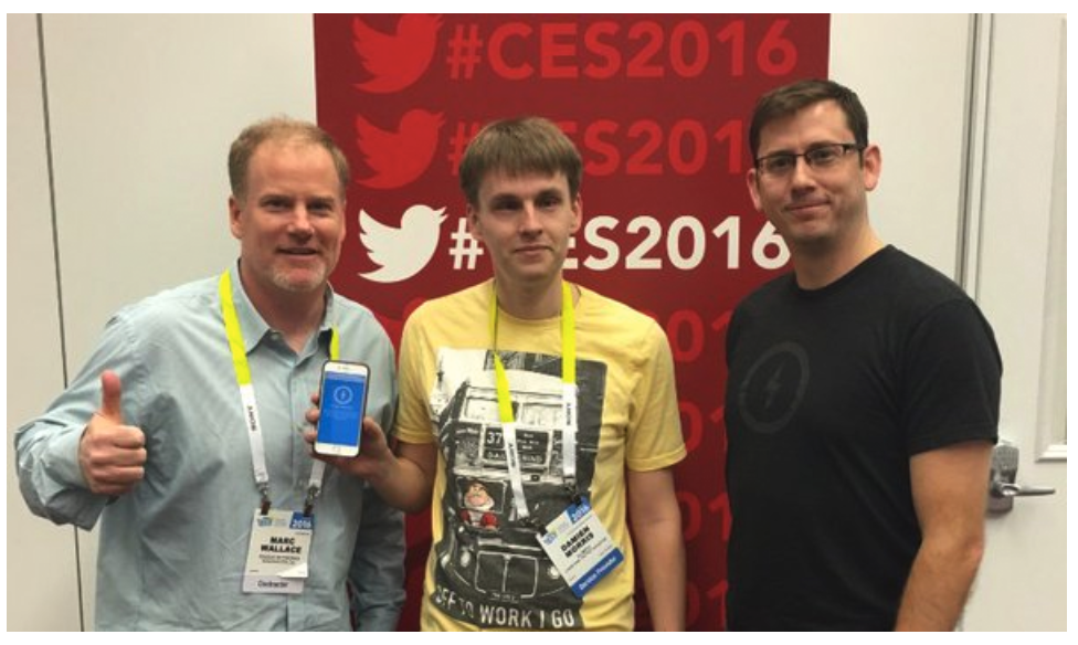 Marc and Chris with the CES 2016 Scavenger Hunt Grand Prize Winner, Damien.